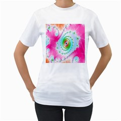 Decorative Fractal Spiral Women s T Shirt (white)  by Simbadda