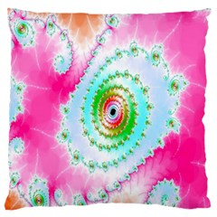 Decorative Fractal Spiral Large Flano Cushion Case (one Side) by Simbadda