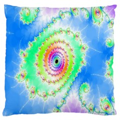 Decorative Fractal Spiral Large Flano Cushion Case (two Sides) by Simbadda