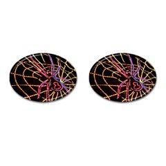 Black Widow Spider, Yellow Web Cufflinks (oval) by Simbadda