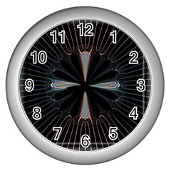 Fractal Rays Wall Clocks (silver)
