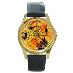 Halloween Weird  Surreal Atmosphere Round Gold Metal Watch by Simbadda