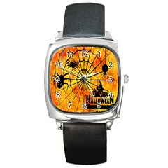 Halloween Weird  Surreal Atmosphere Square Metal Watch by Simbadda