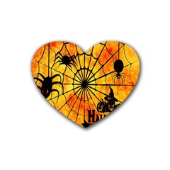 Halloween Weird  Surreal Atmosphere Heart Coaster (4 Pack)  by Simbadda