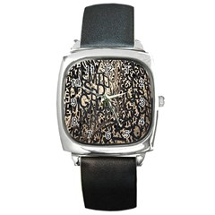 Wallpaper Texture Pattern Design Ornate Abstract Square Metal Watch by Simbadda