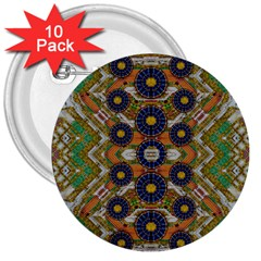 Fleur Flower Porcelaine In Calm 3  Buttons (10 Pack)  by pepitasart