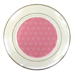 Pink Pattern Porcelain Plates by Valentinaart