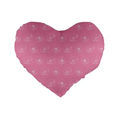 Pink Pattern Standard 16  Premium Flano Heart Shape Cushions by Valentinaart