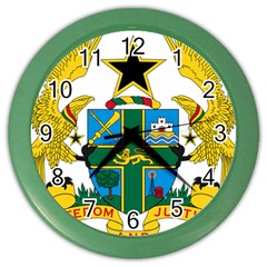 Coat Of Arms Of Ghana Color Wall Clocks by abbeyz71