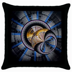 Fractal Tech Disc Background Throw Pillow Case (black) by Simbadda