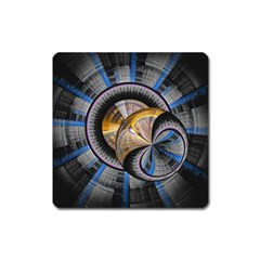 Fractal Tech Disc Background Square Magnet by Simbadda