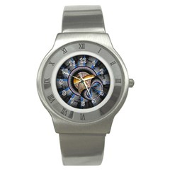 Fractal Tech Disc Background Stainless Steel Watch by Simbadda