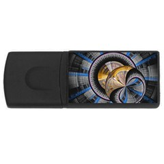 Fractal Tech Disc Background Usb Flash Drive Rectangular (4 Gb) by Simbadda