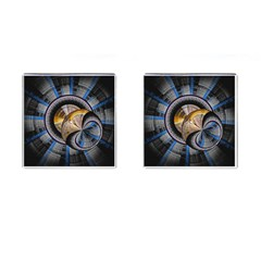 Fractal Tech Disc Background Cufflinks (square) by Simbadda
