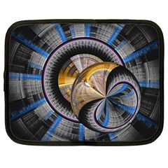 Fractal Tech Disc Background Netbook Case (large) by Simbadda