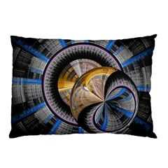 Fractal Tech Disc Background Pillow Case by Simbadda