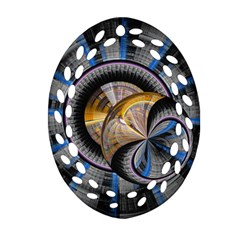 Fractal Tech Disc Background Ornament (oval Filigree) by Simbadda