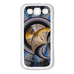 Fractal Tech Disc Background Samsung Galaxy S3 Back Case (white) by Simbadda