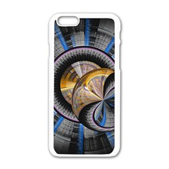 Fractal Tech Disc Background Apple Iphone 6/6s White Enamel Case by Simbadda