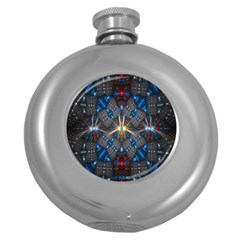 Fancy Fractal Pattern Round Hip Flask (5 Oz) by Simbadda