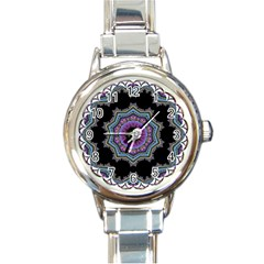 Fractal Lace Round Italian Charm Watch by Simbadda