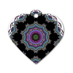 Fractal Lace Dog Tag Heart (one Side) by Simbadda