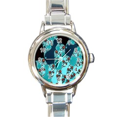 Decorative Fractal Background Round Italian Charm Watch by Simbadda