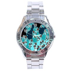 Decorative Fractal Background Stainless Steel Analogue Watch by Simbadda