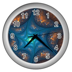 Fractal Star Wall Clocks (silver)