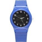 Distorted Net Pattern Round Plastic Sport Watch (S) Front