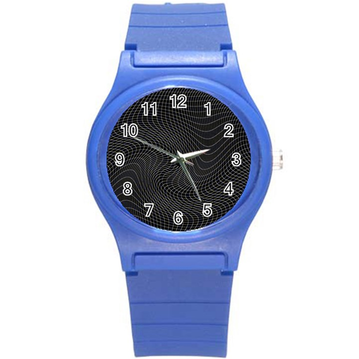 Distorted Net Pattern Round Plastic Sport Watch (S)