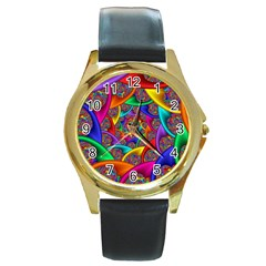 Color Spiral Round Gold Metal Watch