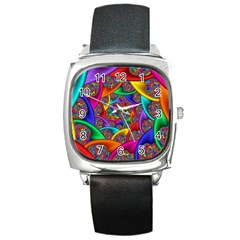 Color Spiral Square Metal Watch by Simbadda