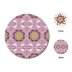 Floral Pattern Seamless Wallpaper Playing Cards (round)