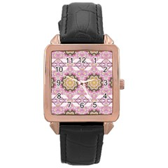 Floral Pattern Seamless Wallpaper Rose Gold Leather Watch  by Simbadda