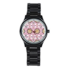Floral Pattern Seamless Wallpaper Stainless Steel Round Watch