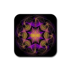 Pattern Design Geometric Decoration Rubber Square Coaster (4 Pack)  by Simbadda
