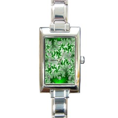 Green Fractal Background Rectangle Italian Charm Watch by Simbadda