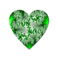 Green Fractal Background Heart Magnet by Simbadda