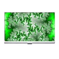 Green Fractal Background Business Card Holders