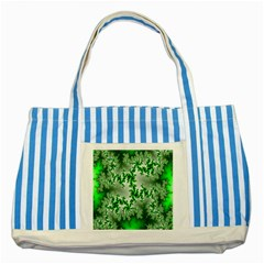 Green Fractal Background Striped Blue Tote Bag by Simbadda