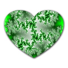 Green Fractal Background Heart Mousepads by Simbadda