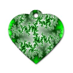 Green Fractal Background Dog Tag Heart (one Side) by Simbadda