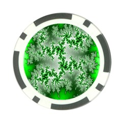 Green Fractal Background Poker Chip Card Guard (10 Pack) by Simbadda