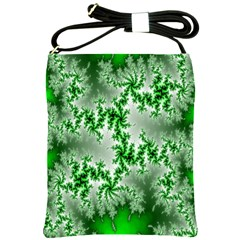 Green Fractal Background Shoulder Sling Bags by Simbadda