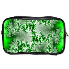Green Fractal Background Toiletries Bags 2 Side by Simbadda