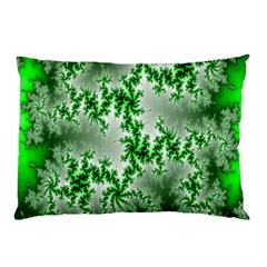 Green Fractal Background Pillow Case (two Sides) by Simbadda