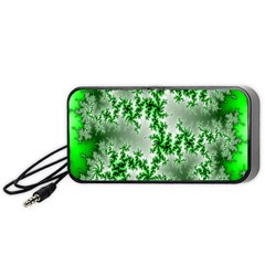 Green Fractal Background Portable Speaker (black) by Simbadda