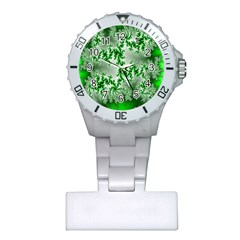 Green Fractal Background Plastic Nurses Watch by Simbadda