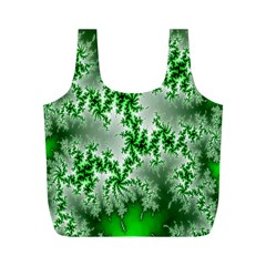 Green Fractal Background Full Print Recycle Bags (m)  by Simbadda
